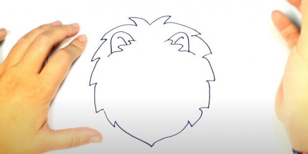 Как нарисовать льва: Нарисуйте уши
