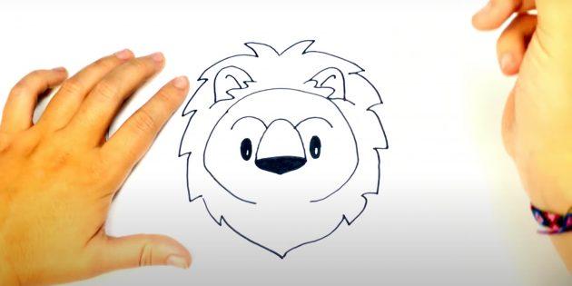 Как нарисовать льва: Нарисуйте нос и брови