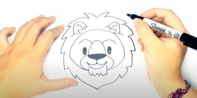Как нарисовать льва: Нарисуйте нос и бородку