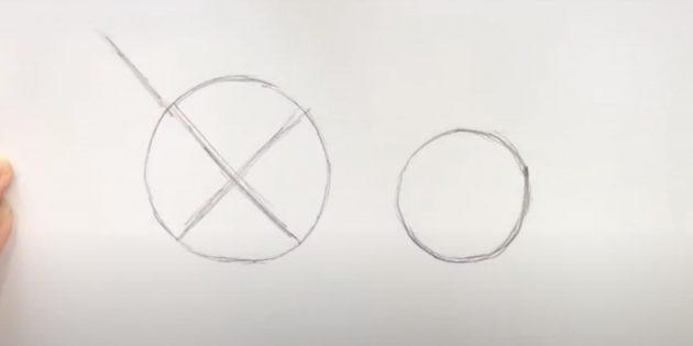 Как нарисовать льва: Наметьте линии внутри круга