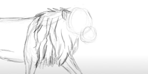 Как нарисовать льва: Нарисуйте ухо и шерсть