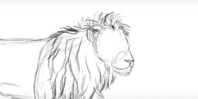 Нарисуйте бороду и волоски по контуру головы