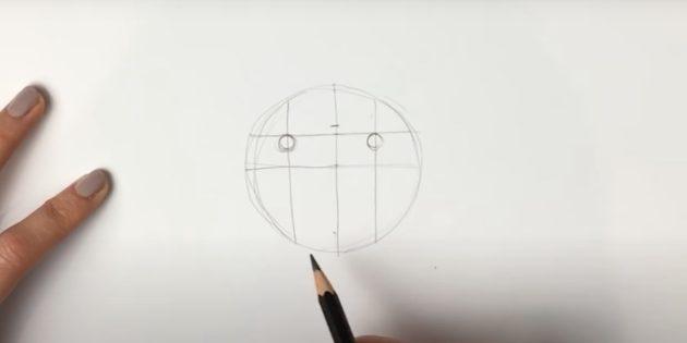 Как нарисовать льва: Наметьте глаза