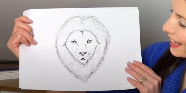 Реалистичная морда льва
