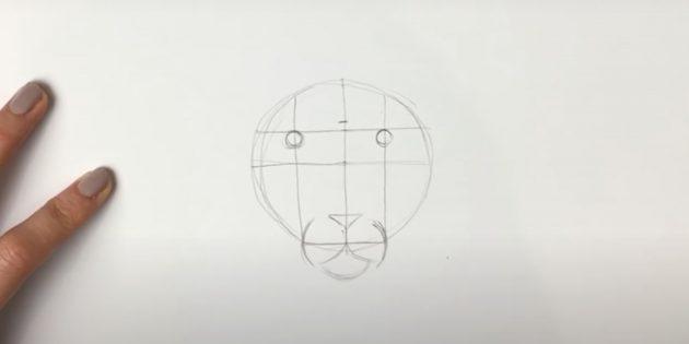 Как нарисовать льва: Наметьте нос, губу и подбородок