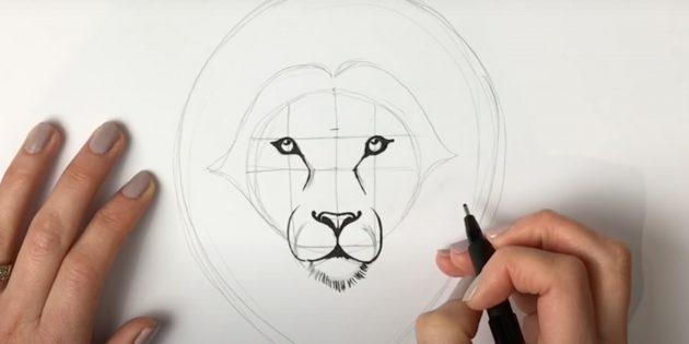 Закрасьте глаза, нарисуйте бородку