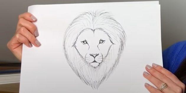 Как нарисовать льва: Нарисуйте брови и сотрите набросок