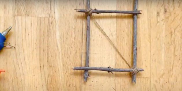 Поделки из дерева: обмотайте верёвкой второй угол