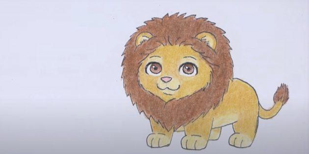 Стоящий мультяшный лев