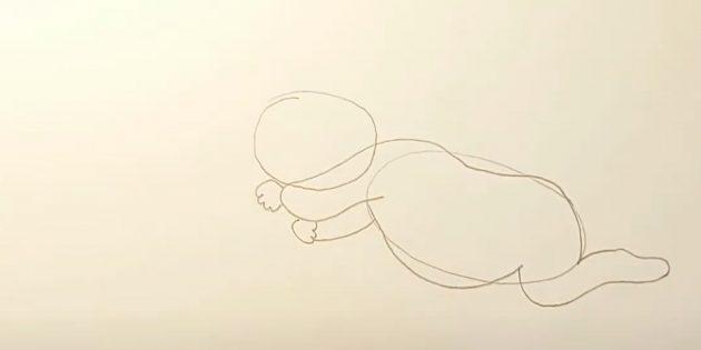 Как нарисовать ребёнка: нарисуйте ладошку и вторую руку