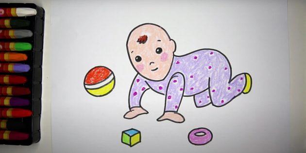 Ползающий мультяшный ребёнок