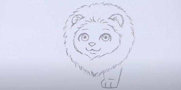Как нарисовать льва: Нарисуйте лапу