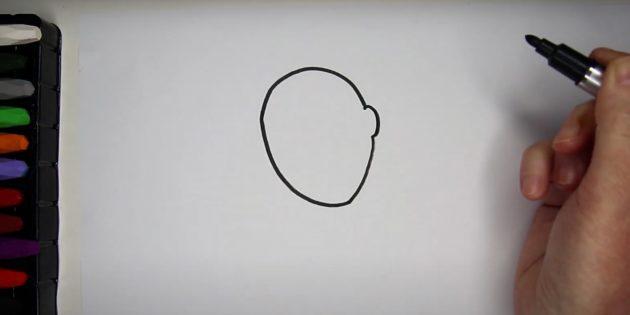 Как нарисовать ребёнка: нарисуйте голову
