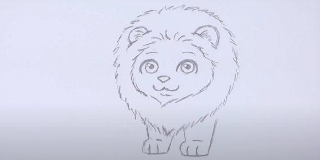 Как нарисовать льва: Нарисуйте вторую лапу