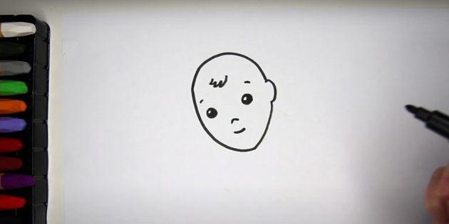 Как нарисовать ребёнка: нарисуйте лицо