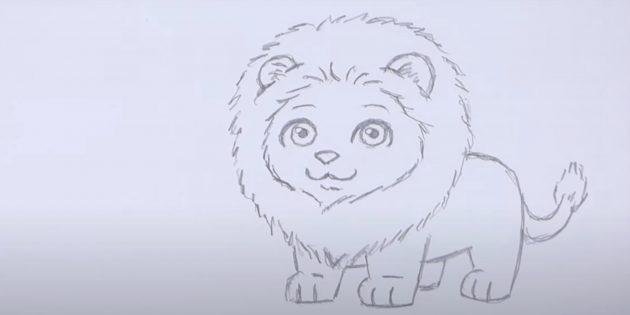 Как нарисовать льва: Нарисуйте задние лапы и хвост