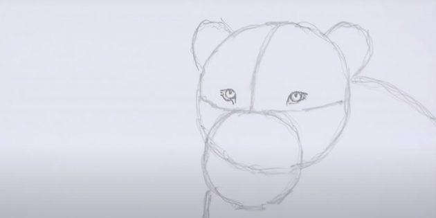 Как нарисовать льва: Нарисуйте глаза
