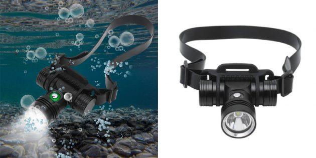 Налобный фонарь с возможностью использования под водой