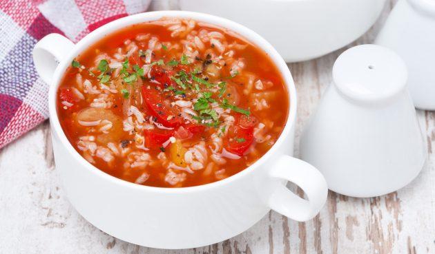 Суп с фаршем, рисом и сладким перцем
