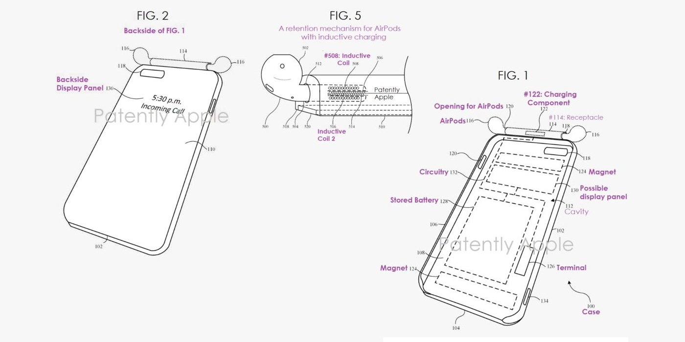 Apple запатентовала чехлы для iPhone с функцией подзарядки AirPods