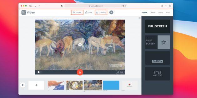 Как сделать слайдшоу из фотографий онлайн: кликните Preview