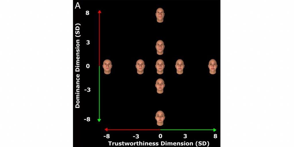 График оценки лиц по двум признакам: выглядящие властно (вертикальная ось) и вызывающие доверие (горизонтальная)