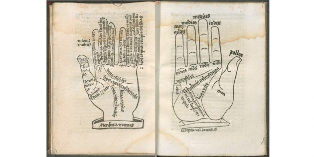 Иллюстрации из Aristoteles: Chiromantia cum figures — средневекового перевода труда Аристотеля о хиромантии