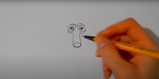 Как нарисовать белку: нарисуйте мордочку