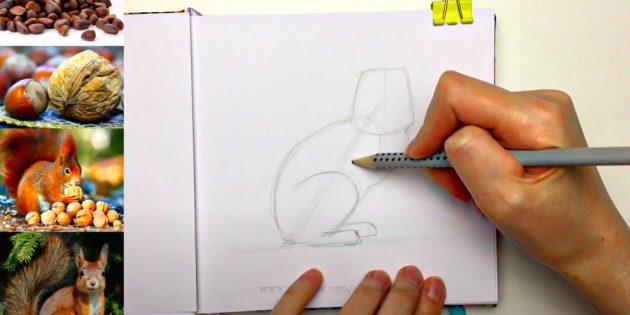 Нарисуйте заднюю лапу