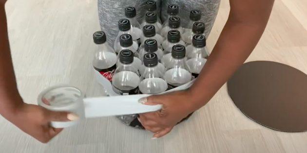 Пуфик своими руками: обмотайте бутылки скотчем