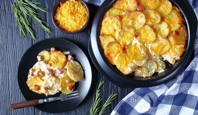Картофельная запеканка с ветчиной