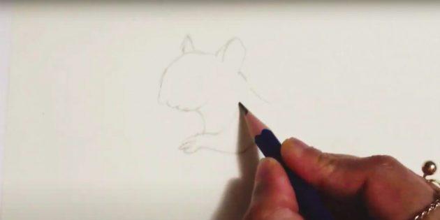 Как нарисовать белку: нарисуйте шею и лапку