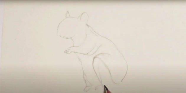 Как нарисовать белку: наметьте заднюю лапу