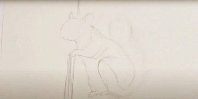 Как нарисовать белку: проведите линию древесного ствола