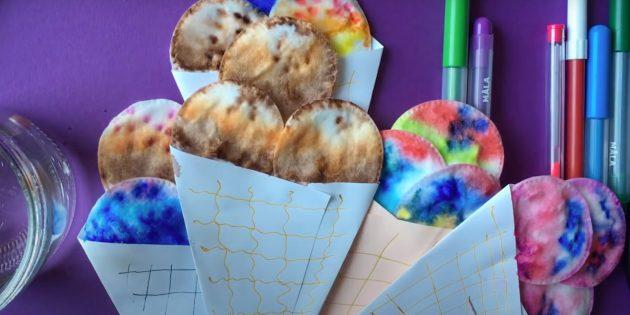Рожок с мороженым из ватных дисков
