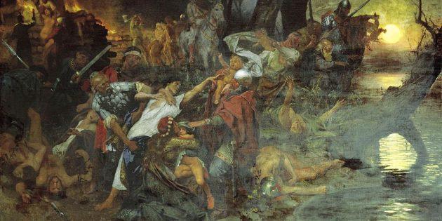 Как появилась Масленица: Г. И. Семирадский «Тризна русских дружинников после битвы под Доростолом в 971году», 1884