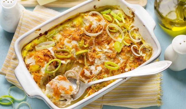 Рыба, запечённая в сметанном соусе