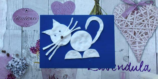 Кот из ватных дисков