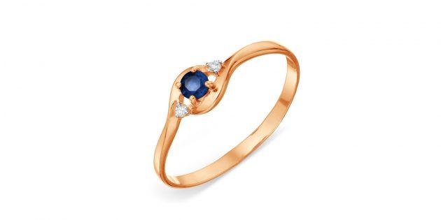 Кольцо с сапфиром и бриллиантами Karatov