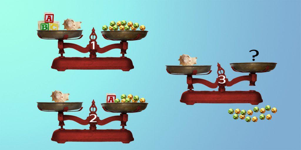 Сколько бусин нужно положить на свободную чашу весов № 3, чтобы уравновесить раковину?