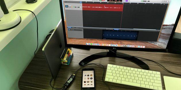 Используйте звук с выхода наушников iPhone в качестве источника и запишите его на компьютере