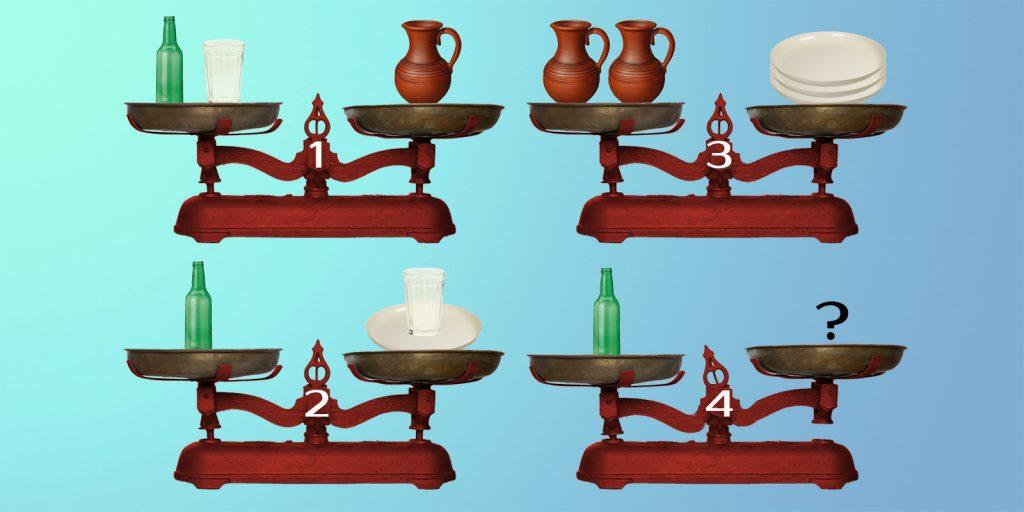 Сколько нужно поставить стаканов на свободную чашу весов № 4, чтобы уравновесить бутылку?