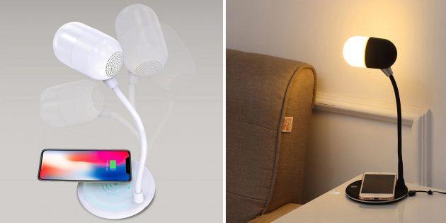 Настольная лампа, беспроводная зарядка, Bluetooth-колонка