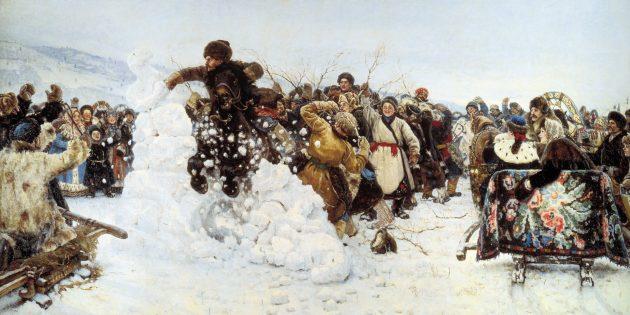 Как празднуют Масленицу: взятие снежного городка