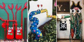 Художник разрисовывает улицы, обыгрывая трубы, люки и некрасивые конструкции