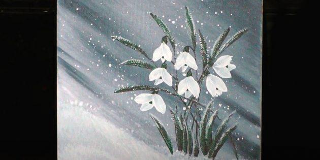 Рисунок подснежников акриловыми красками
