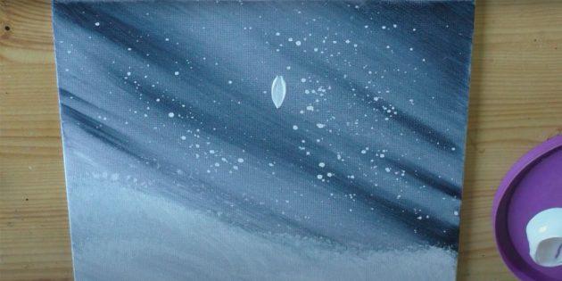 Как нарисовать подснежники: Нарисуйте посреди холста лепесток