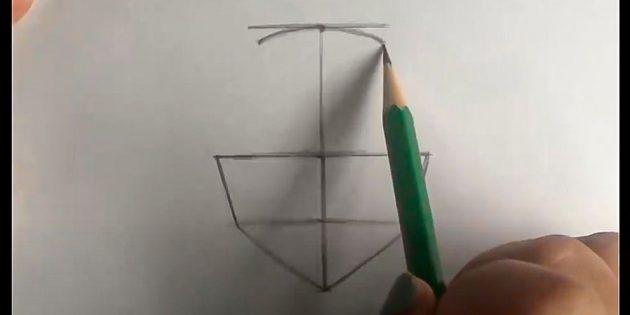 Как нарисовать лицо девочки: обозначьте верхнюю границу головы
