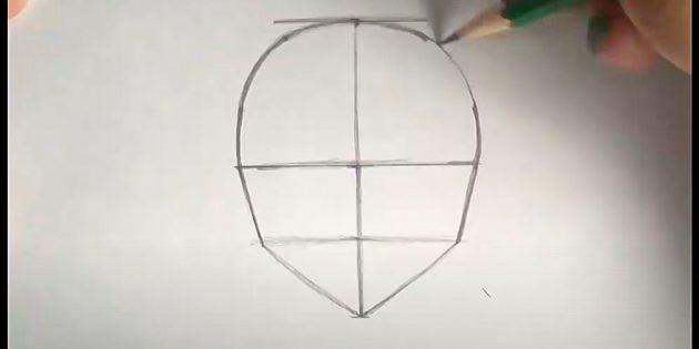 Как нарисовать лицо девочки: достройте контур головы