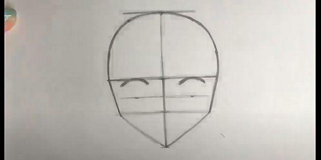 Как нарисовать лицо девочки: нарисуйте заготовки для глаз